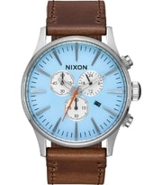 Hodinky Nixon Sentry chrono Leather Sky Blue A405-2547