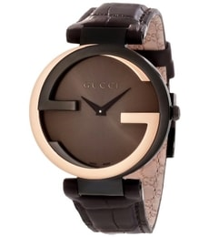 Hodinky Gucci  Interlocking-G Black Dial Brown YA133304