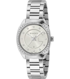 Hodinky Gucci GG2570 White Dial Stainless Steel Diamond Ladies Watch YA142505