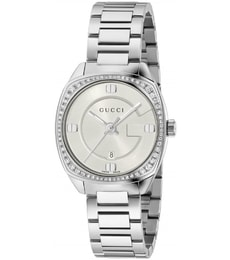 Hodinky Gucci GG2570 White Dial Stainless Steel Diamond Ladies Watch YA142506