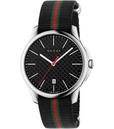 Hodinky Gucci G-Timeless Black Dial Fabric Black Striped YA126321