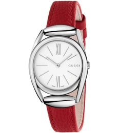 Hodinky Gucci Horsebit White Dial Red Leather YA140501