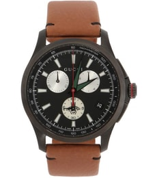 Hodinky G-Timeless Black Dial Chronograph Leather YA126271