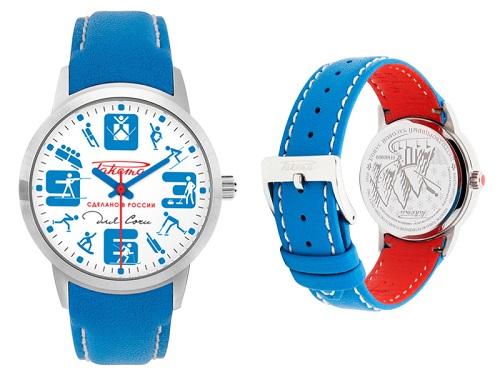 """Návštěva v ruském hodinářském závodu Raketa, která je ve francouzských rukou, má na svědomí blížící se zimní olympijské hry v ruském Soči. Hodinky Raketa Soči byly totiž vyrobeny k tomuto významného sportovnímu svátku. Hodinky Raketa Soči jsou provedeny v národních ruských barvách, takže výrobku dominuje modrá, červená a bílá. Kulatý ciferník hodinek je sněhově bílý, zatímco řemínek sytě modrý. Vnitřní strana koženého řemínku je však červená. Na kulatém ciferníku ještě objevíte čtyři výrazná arabská čísla, která jsou v modré barvě. Modrá je rovněž minutová a hodinová ručka. Sekundová ručka je pro změnu červená. Červené jsou rovněž indexy, které ovšem nahradily symboly dvanácti zimních sportů, ve kterých budou chtít Rusové získat co nejvíce olympijských medailí. Dýnko hodinek je rovněž ve znamení symbolů zimních sportů, takže tento výrobek může být pěkným suvenýrem pro každého návštěvníka této zimní olympiády. Na sněhově bílém ciferníku ještě uvidíte nápis červeným písmem v azbuce, který říká """"Sdelano v Rossii"""", což znamená """"vyrobeno v Rusku"""". Na závěr ještě dodejme pár technických informací. Unisexové náramkové hodinky Raketa Soči jsou vybavené quartzovým strojkem na baterie, který má označení Raketa 763-3 Quartz. Stříbrné pouzdro z oceli má pak průměr 38,5 milimetrů. Hodinky jsou vodotěsné do padesáti metrů. Časomíry Raketa Soči jsou vyráběny v limitované edici a stojí na internetu zhruba 480 amerických dolarů."""